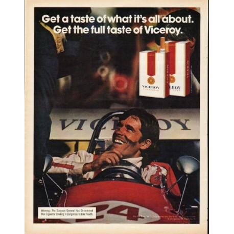 """1972 Viceroy Cigarettes Ad """"Get a taste"""""""