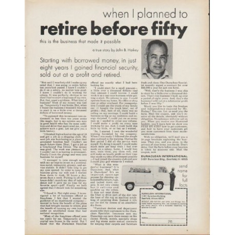 "1972 Duraclean International Ad ""retire before fifty"""