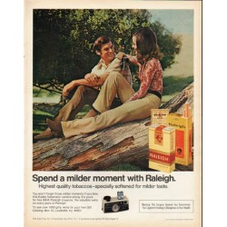 "1972 Raleigh Cigarettes Ad ""milder moment"""