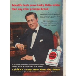 "1950 Lucky Strike Ad ""Scientific tests prove Lucky Strike milder"""
