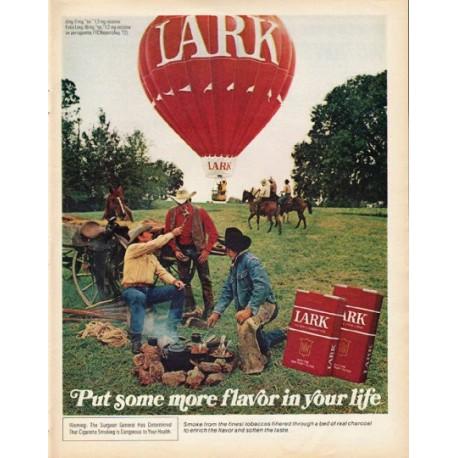 """1972 Lark Cigarettes Ad """"more flavor"""""""