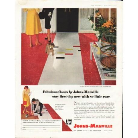 "1958 Johns-Manville Floors Ad ""Fabulous floors"""