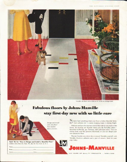 1958 Johns Manville Floors Vintage Ad Quot Fabulous Floors Quot