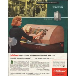 "1958 National Cash Register Ad ""Post-Tronic machines"""