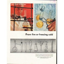 "1958 Kimble Glass Company Ad ""fire or freezing cold"""