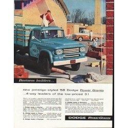 "1958 Dodge Trucks Ad ""Power Giants"" ~ (model year 1958)"