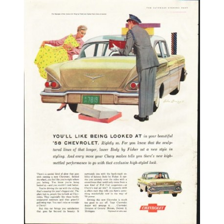 """1958 Chevrolet Biscayne Ad """"being looked at"""" ~ (model year 1958)"""