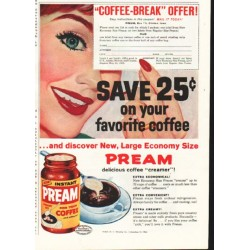 "1958 Pream Ad ""Coffee-Break"""