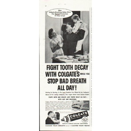 "1958 Colgate Toothpaste Ad ""stop bad breath all day"""