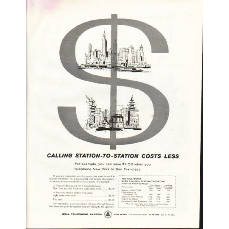 """1958 Bell Telephone System Ad """"Station-To-Station"""""""