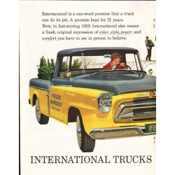 "1958 International Harvester Ad ""one-word promise"" ~ (model year 1958)"