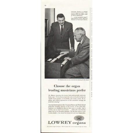 """1958 Lowrey Organs Ad """"Choose the organ"""""""