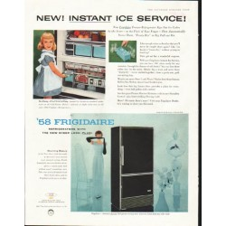 "1958 Frigidaire Ad ""Instant Ice Service"""