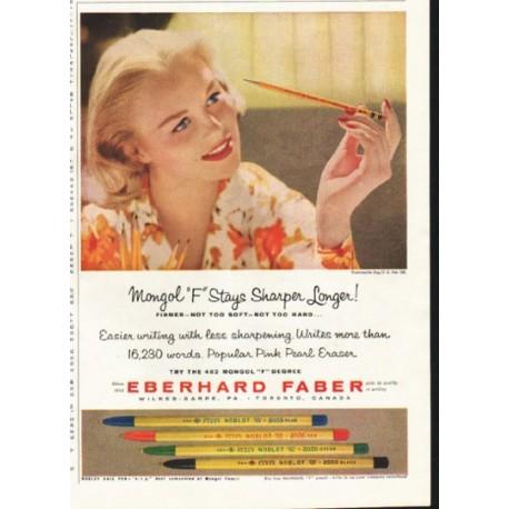 """1958 Eberhard Faber Ad """"Stays Sharp Longer"""""""
