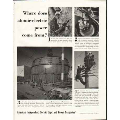 "1958 Electric Light and Power Companies Ad ""atomic"""