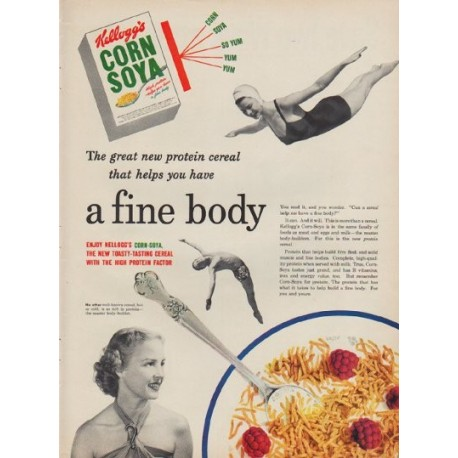 "1950 Kellogg's Corn Soya Ad ""The great new protein cereal"""
