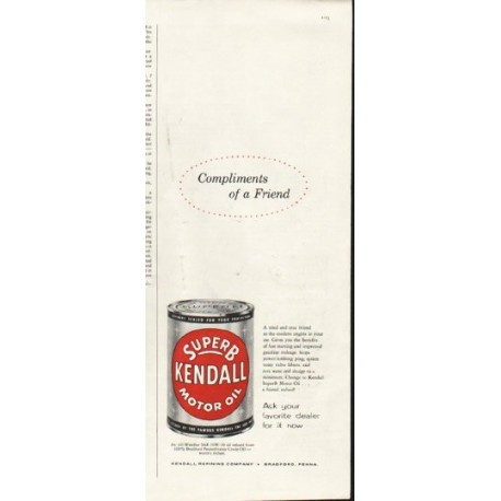 """1958 Kendall Motor Oil Ad """"Compliments of a Friend"""""""