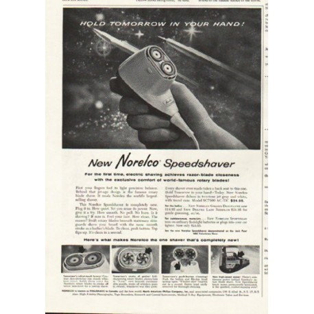 "1958 Norelco Ad ""Hold Tomorrow"""