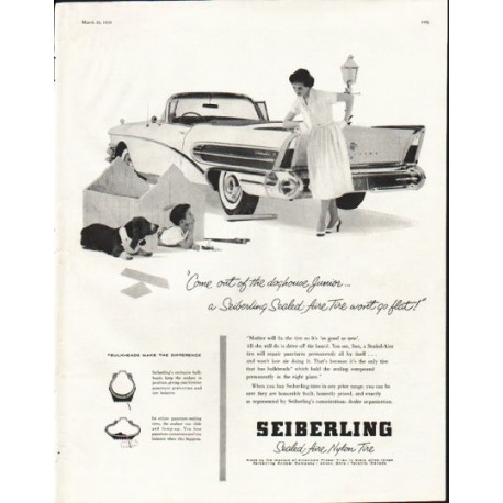 """1958 Seiberling Tires Ad """"Come out of the doghouse"""""""