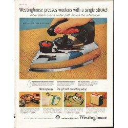 "1958 Westinghouse Ad ""presses woolens"""