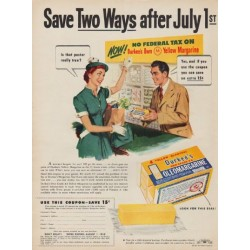 "1950 Durkee's Oleomargarine Ad ""Save Two Ways after July 1st"""