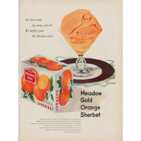 "1950 Meadow Gold Ad ""It's loved alike by young and old"""