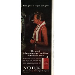 "1965 York Cigarettes Ad ""gives it to you straight"""
