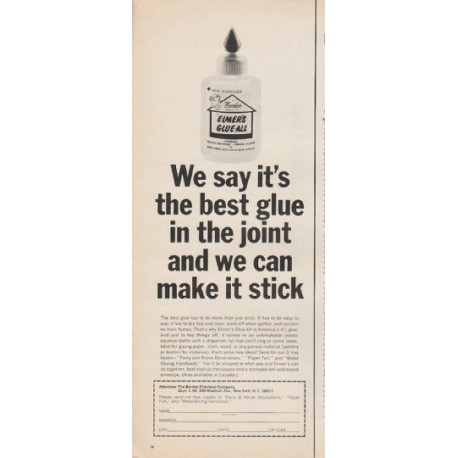 "1965 Elmer's Glue-All Ad ""best glue in the joint"""