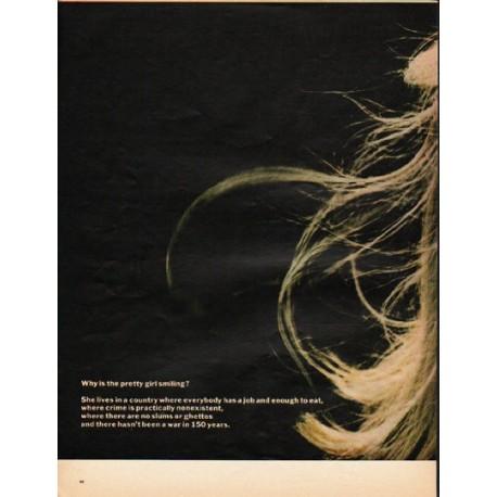 "1965 Scandinavian Airlines Ad ""pretty girl"""