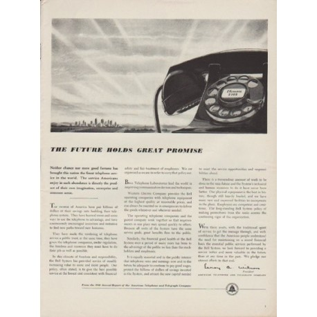"1949 American Telephone and Telegraph Company Ad ""The Future"""