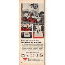 "1965 AMF Mow-Trac Ad ""Rugged rider"""