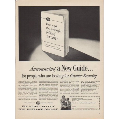 "1949 Mutual Benefit Life Insurance Company Ad ""Announcing"""