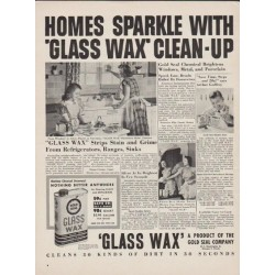 "1949 Glass Wax by Gold Seal Ad ""Homes Sparkle With 'Glass Wax' Clean-Up"""
