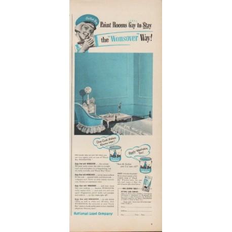 "1949 National Lead Company Ad ""Dutch Boy ... the 'Wonsover' Way!"""