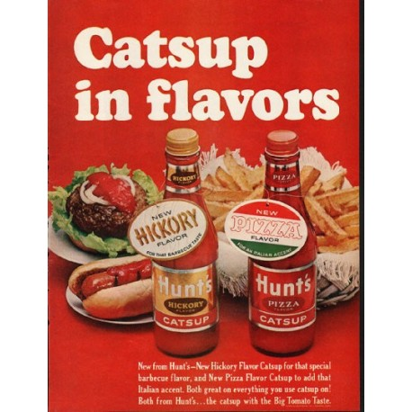 """1965 Hunt's Catsup Ad """"Catsup in flavors"""""""