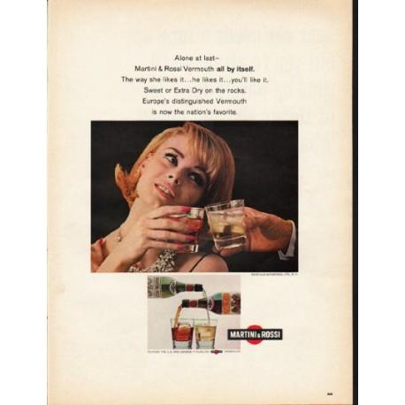 """1965 Martini & Rossi Ad """"Alone at last"""""""
