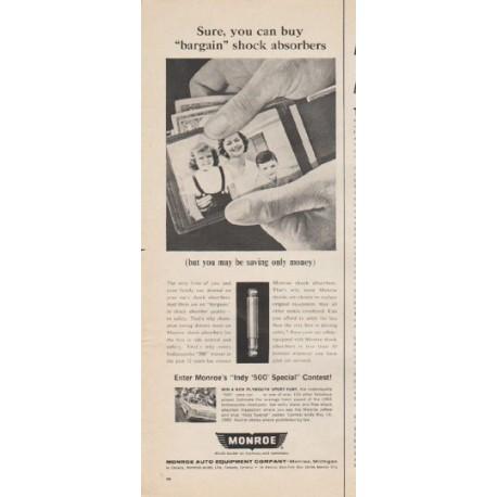"1965 Monroe Shocks Ad """"bargain"" shock absorbers"""