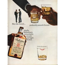 "1965 Ballantine's Scotch Ad ""Men like Scotch"""