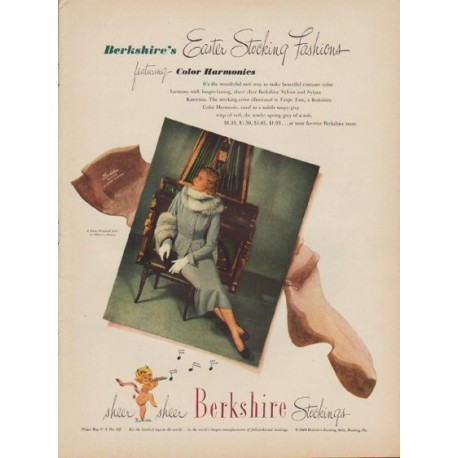 "1949 Berkshire Stockings Ad ""Easter Stocking Fashions"""