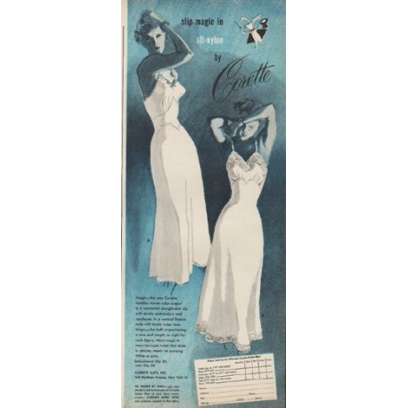"1949 Corette Ad ""slip-magic in all-nylon"""