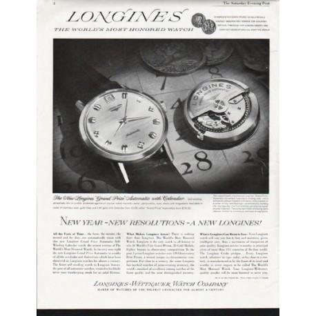 "1963 Longines-Wittnauer Watch Ad ""New year"""