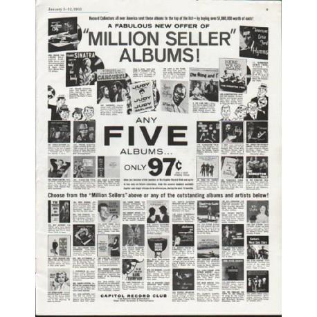 "1963 Capitol Record Club Ad ""Million Seller"""