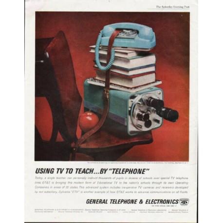"1963 General Telephone & Electronics Ad ""Using TV"""