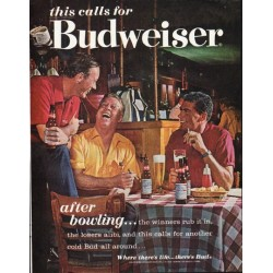 "1963 Budweiser Beer Ad ""after bowling"""