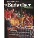 """1963 Budweiser Beer Ad """"after bowling"""""""