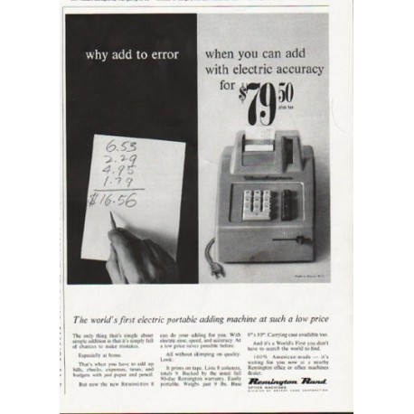 "1963 Remington Rand Ad ""why add to error"""