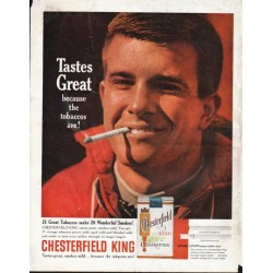 "1963 Chesterfield Cigarettes Ad ""Tastes Great"""