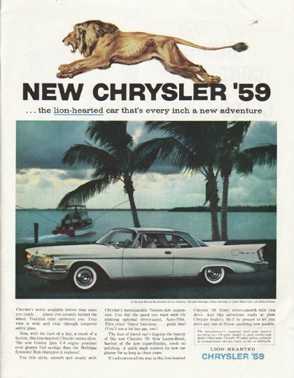 1959 Chrysler Saratoga Vintage Ad Quot The Lion Hearted Car