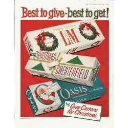 "1958 Liggett & Myers Tobacco Company Ad ""Best to give"""