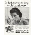 """1958 Campbell's Soup Ad """"luxury of its flavor"""""""